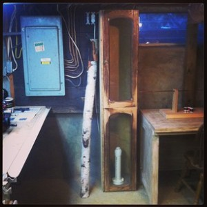 Old man dug down 4 feet for dip tank. Doors from old stereo cabinet.